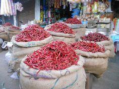 Market. Red hot chilli pepper