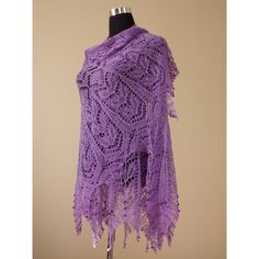 Lilac Lace Knit Shawl, Silk Merino, Glass Beads, Hand knitted,... ($125) ❤ liked on Polyvore featuring accessories, scarves, merino scarves, silk scarves, hand knit scarves, holiday scarves and boho scarves