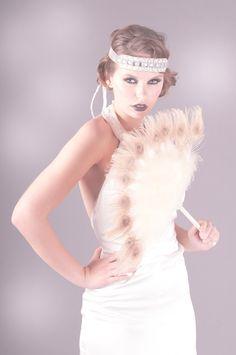 Imogen Feather Fan. 1920s, deco, peacock, ivory, feather, wedding, bridal, fan