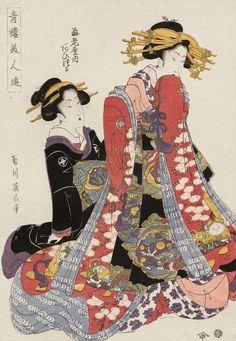 Aizuru of the Ebiya. Ukiyo-e woodblock print, 1806, Japan, by artist Kikugawa Eizan.