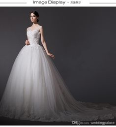 2014 Elegant Real Sample V-neck Sequin Beading Tulle A-line Wedding Dresses Online with $167.13/Piece on Weddingpalace's Store   DHgate.com
