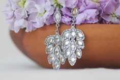 Large Rhinestone Drop Earrings Vintage by TequilaCloset on Etsy, $22.00