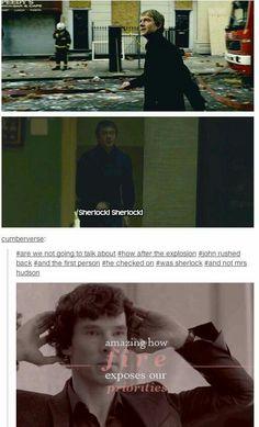Not a Johnlock shipper, but this really shows how important Sherlock is to John Sherlock Bbc, Sherlock Fandom, Watson Sherlock, Jim Moriarty, Sherlock Quotes, Johnlock, Martin Freeman, Benedict Cumberbatch, Sherlock Cumberbatch