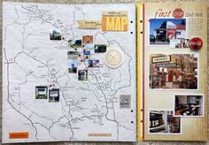 love this idea of marking places you visit on the map using brads, rhinestones, or mini-pictures!! will definitely be scraplifting this idea! #scrapbooking #layout
