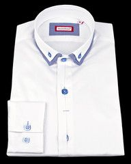 Designer white French dress shirt by Franck Michel with luxury details .$119.00