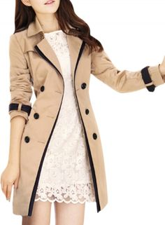 Women's Long Sleeve Double Breasted Trench Coat with Belt