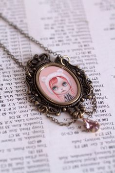 Cutie Cubhead  Blythe Love  original cameo necklace by mabgraves