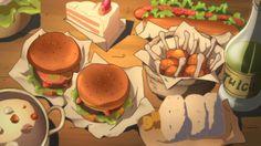 Hamburgers, chicken, cake, hotdog, onigiri, and stew…. Looks good, let's eat! Log Horizon, Episode 5