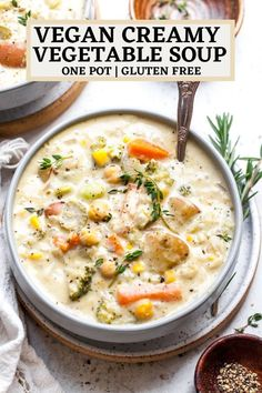 Cream Of Vegetable Soup, Creamy Vegetable Soups, Vegetable Soup Healthy, Vegetarian Soup, Vegan Soups, Vegan Dishes, Vegetarian Recipes, Healthy Recipes, Healthy Soups