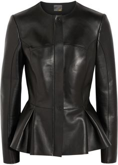 Peplum Leather Jacket - Lyst