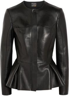 Peplum Leather Jacket - Lyst