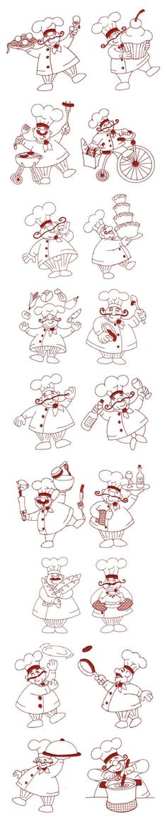 little chefs in hars - embroidery designs Embroidery Applique, Cross Stitch Embroidery, Embroidery Patterns, Applique Designs, Machine Embroidery Designs, Digital Stamps, Colouring Pages, Clipart, Blackwork