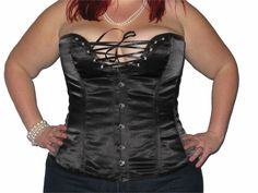 """Overbust satin corset Shaped open and revealing bust, edged with open steel eyelets and satin lacing, 100% cotton lining with inner grip tape. 6 steel bones, side bones are flexy spiral sprung steel perfect for waist shaping/ light training.  5"""" back Modesty panel and back lacing using strong cotton laces, 6 Removable and adjustable suspenders. Sizes 2XS - 12XL . Dress sizes 8 - 40    (019)"""