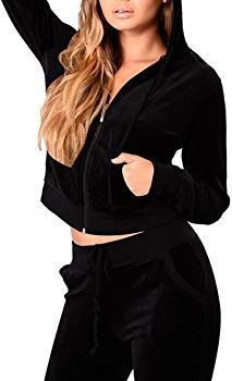 Linsery Women's Fall Pleuche Zipper Hooded Jacket and Sweatpants 2 Piece Suits at Amazon Women's Clothing store: Hooded Jacket, Winter Outfits, Sweatpants, Velvet, Zipper, Suits, Hoodies, Amazon, Store