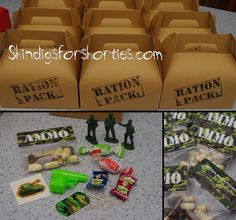 Army party, army theme, camo, army loot, party favours, ammo, dog tag, bullets, tattoos, ration pack Army Birthday Cakes, Army Birthday Parties, Army's Birthday, Birthday Ideas, Paintball Party, Nerf Party, Military Party, Army Party, Party Favours