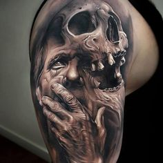 61 Best Stylish, Beautiful and Unique Tattoos for Men unique tattoos for men; unique tattoos for couples; unique tattoos for my son; unique tattoos for lost loved ones; unique tattoos for parents; unique tattoos for best friends Skull Hand Tattoo, Skull Sleeve Tattoos, Skull Tattoo Design, Best Sleeve Tattoos, Tattoo Designs Men, Body Art Tattoos, Evil Skull Tattoo, Nerd Tattoos, Arlo Tattoo