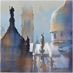 Watercolor painting by Thomas W. Schaller.