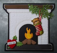 bydonna: Brick embossing folder used to make a fireplace and stocking.  Cute Christmas card.