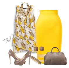 """Yellow Skirt"" by pkoff ❤ liked on Polyvore featuring White House Black Market, Thalia Sodi, Brian Atwood, Bottega Veneta, Ashley Pittman and BillyTheTree"