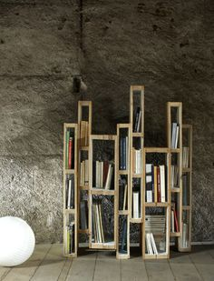 Les Palettes by Martin Lévêque, via Behance / bookshelf of palettes as room partition..