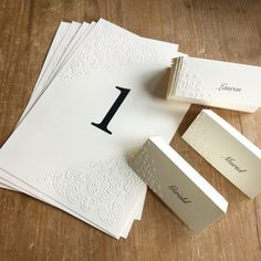 Embossed place and table cards. Table Cards, Place Cards, Place Card Holders, Place Card