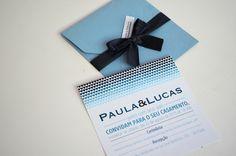Convite estampa de corações! Azul e preto!  www.cartesdesign.com cartesconvites@gmail.com Instagram: cartesdesign