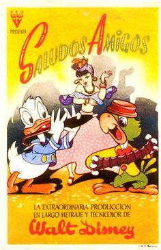 Disney has never released soundtracks for Saludos Amigos and The 3 Caballeros… Vintage Disney Posters, Disney Movie Posters, Disney Animated Movies, Disney Cartoons, Walt Disney Characters, Disney Films, Disney Style, Disney Love, Every Disney Movie