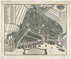 'Nieuwe platte grond vande stad Rotterdam geleegen aande rivieren de Maase en de Rotte.' - By Hendrik de Leth, published 1768 by J. Covens.
