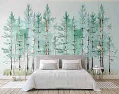 Murwall Modern Mint Green Tree Painting Forest Wallpaper Jungle Wall Decor Tropical Cafe Decor Natural Home Decor Living Room Entryway photo ideas from NEO Home Decor Tree Wallpaper Living Room, Tree Wallpaper Mural, Tree Wall Murals, Forest Wallpaper, Wallpaper Jungle, Bedroom Wallpaper, Nature Wallpaper, Painted Wallpaper, Photo Wallpaper