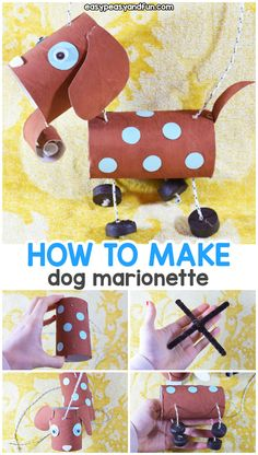 How To Make a Dog Marionette Puppet - Easy Peasy and Fun Halloween Crafts For Kids, Diy Crafts For Kids, Projects For Kids, Art For Kids, Paper Bag Puppets, Hand Puppets, Puppet Crafts, Dog Crafts, Peacock Crafts