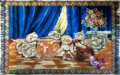 HUGE Kittens Tapestry Playful Cats with Goldfish by elliemayhems