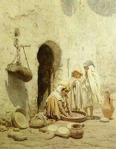 Peinture d'Algérie - Peintre Français, Louis-Auguste Girardot(1856-1933), huile sur toile, titre : Préparation des galettes de pain.