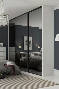 Buy Sliding Doors and track Black Frame Mirror at Argos. Thousands of products for same day delivery or fast store collection. Mirror Closet Doors, Redecorate Bedroom, Home, Bedroom Design, Chic Bedroom Decor, Black Mirror Frame, Glass Doors Interior, Mirrored Wardrobe Doors, Bedroom Built In Wardrobe