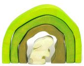 What a cute idea for in the Easter Basket for the little ones!  Wooden Curious Bunny in a Hill, Wooden Tunnel, Wooden Stacker Toy, inspired by Montessori & Waldorf teaching principles- Miini Moh