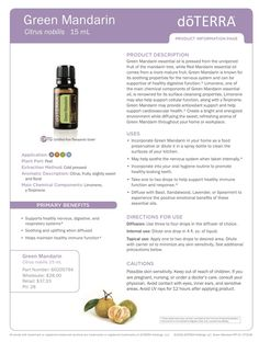 DoTERRA green mandarin essential oils uses and benefits. How to use green mandarin oil Doterra Essential Oils, Natural Essential Oils, Essential Oil Blends, Doterra Oils, Doterra Products, Doterra Blends, Aromatherapy Oils, Diffuser Blends, Remedies