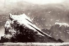 The Rumblings, Muckle Flugga, Shetland by British artist Norman Ackroyd RA, CBE Norman Ackroyd, Landscape Drawings, Landscape Art, Landscape Paintings, Etching Prints, Black And White Painting, Am Meer, Modern Artists, Light In The Dark