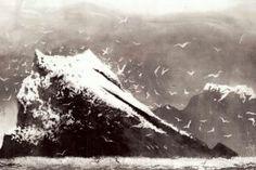 The Rumblings, Muckle Flugga, Shetland by British artist Norman Ackroyd RA, CBE Landscape Drawings, Architecture Drawings, Landscape Art, Landscape Paintings, Norman Ackroyd, Etching Prints, Unusual Art, Am Meer, Modern Artists
