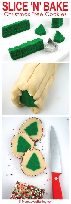 How to make Slice 'N' Bake Christmas Tree Cookies - soft, sweet and buttery sugar cookies with a bright green Christmas tree in the middle.