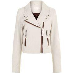 Isabel Marant Étoile Chalk Leather Aken Biker Jacket (£600) ❤ liked on Polyvore featuring outerwear, jackets, white moto jacket, white motorcycle jackets, draped leather jackets, genuine leather jackets and motorcycle jacket