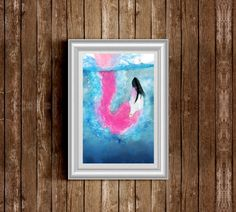 Pink Flamingo Underwater Poster Print by Printsby on Etsy https://www.etsy.com/listing/215635724/pink-flamingo-underwater-poster-print