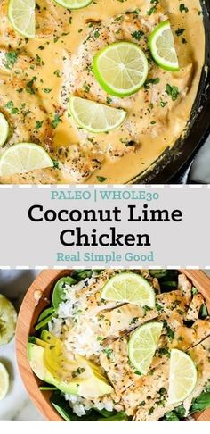 I really love Thai food and it always feels like comfort food to me! This Paleo and friendly coconut lime chicken is so flavorful, fresh and satisfying! Recipes on the go Coconut Lime Chicken (Paleo, + Keto) Healthy Chicken Recipes, Whole Food Recipes, Diet Recipes, Cooking Recipes, Easy Whole 30 Recipes, Whole 30 Crockpot Recipes, Whole 30 Chicken Recipes, Keto Chicken, Best Paleo Recipes