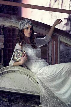 20's inspired beaded tulle juliette style cap ivory by beretkah