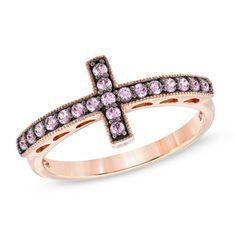 Lab-Created Pink and White Sapphire Sideways Cross Ring in Sterling Silver with 14K Rose Gold Plate - Size 7  - Peoples Jewellers...