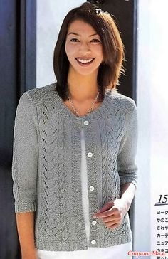Jacket with braids and openwork. Spokes. - Knitted fashion + NEMODELNYH FOR LADIES - Country Mom