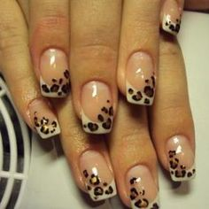 leopard print nails, leopard print on normal french nails..