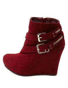 ec9c9f581f82 Bamboo Zipper-Belted Platform Wedge Booties  Charlotte Russe Wedge Ankle  Boots