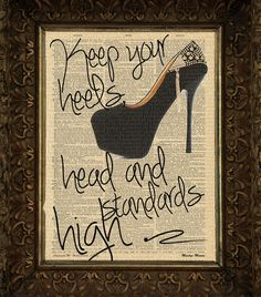 Buy3Get3Free Keep Your Heels Head and Standards High Cite Marilyn Monroe on Antique Dictionary Art Print,Wall Decor,Wall Art Mixed Collage
