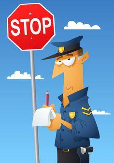 Policia poniendo multa.