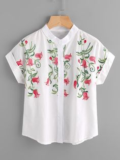 SheIn offers Stereo Embroidery Cuffed Blouse & more to fit your fashionable needs. Latest Embroidery Designs, Dress Painting, Formal Shirts, Blouse Outfit, Blouse Online, Blouses For Women, Shirt Style, Floral Tops, Tunic Tops
