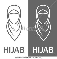 Muslim traditional hijab, islam woman sign. Vector illustration, icon, logo.